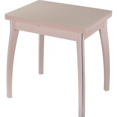 Кремовый раскладной кухонный стол со стеклом Чинзано М2
