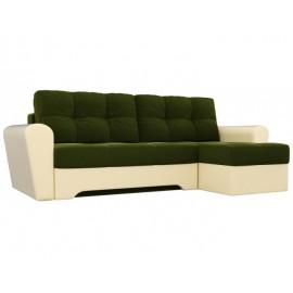 Угловой диван со спальным местом Кирстен зелено-белый