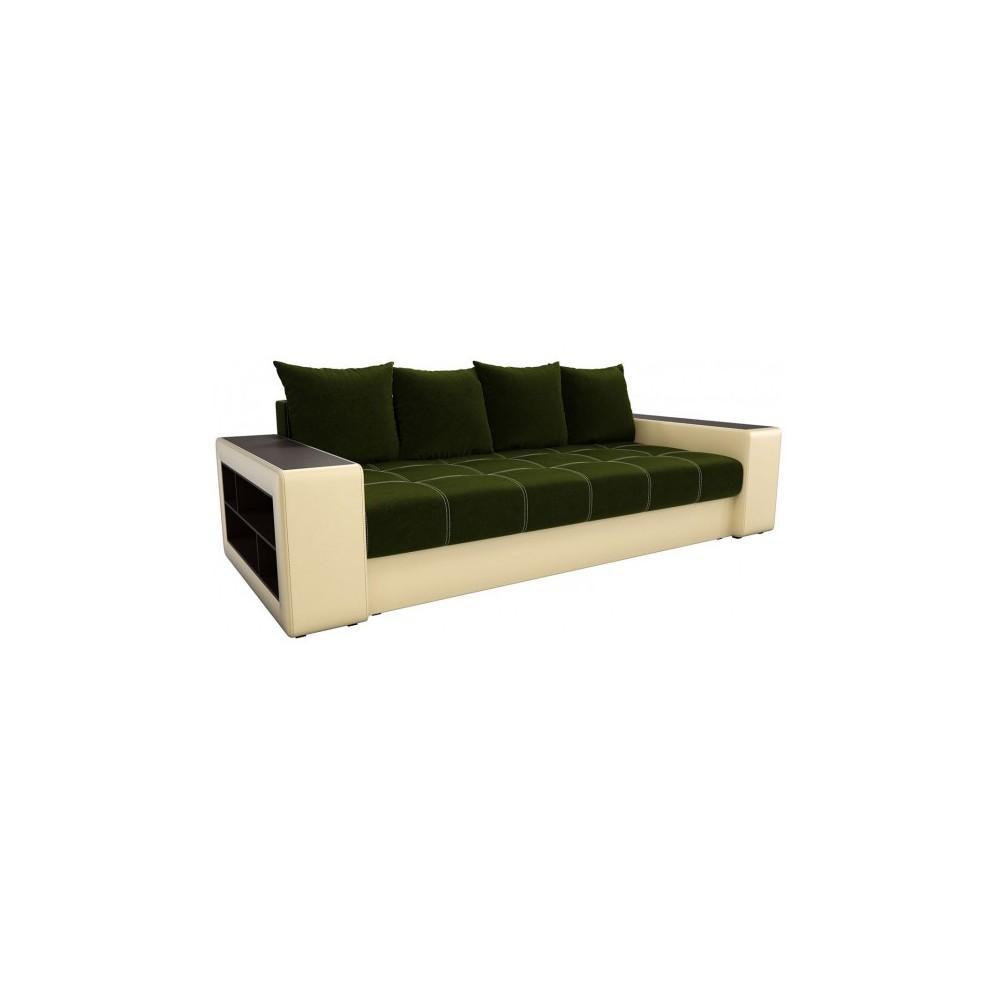 Прямой диван Визави зелено-бежевый