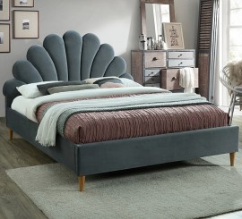 Двуспальная кровать Santana Velvet серая