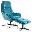 Кресло для отдыха с подставкой для ног Signal Ford Velvet бирюзовое