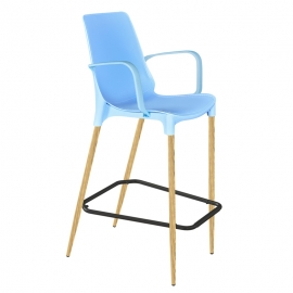 Барный стул в стиле лофт Лонг голубой