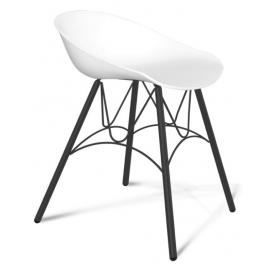 Пластиковый кухонный стул-табурет Felon белый/черный