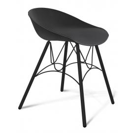 Пластиковый кухонный стул-табурет Felon черный/черный