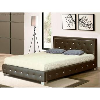 Двуспальная кровать из экокожи Moree Brown