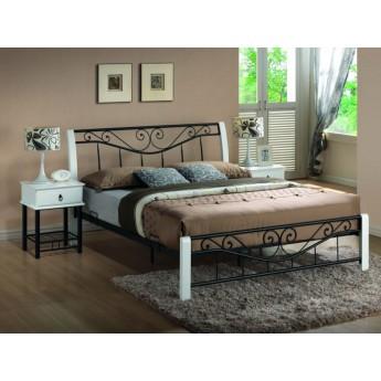 Черно-белая двуспальная кровать из массива и металла Parma