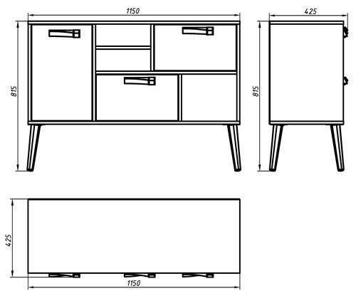 Размеры тумбы под ТВ