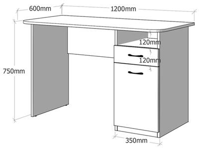 Размеры письменного стола Анджело