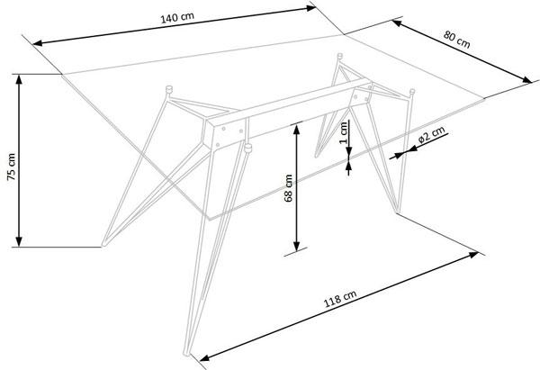 Размеры стола Trax